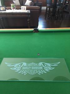Harley Davidson etched glass