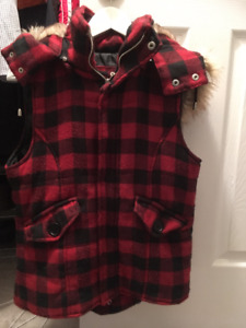 (Medium) Bluenotes Thick Flannel Vest with Hood