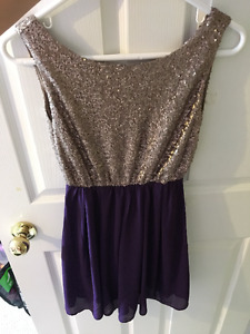 Size Small Dress - deep purple and gold