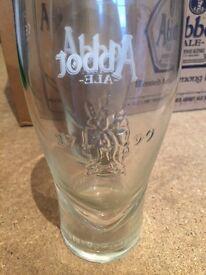 12x Abbot ale pint glasses brand new unused home bar pub club party