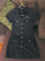 Black Army Cargo Button-up Dress