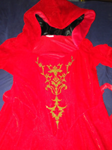 Ladies costume red gold gown cape