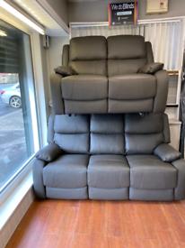 11. Brand new 3+2grey leather sofa