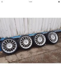 MG ROVER 17 INCH MULTISPOKE ALLOY WHEELS AND TYRES,SET OF 5