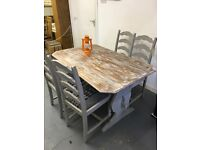 Up cycled shabby chic table and chairs grey