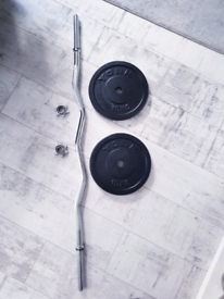 NEW!!! York weights plates 2x10kg+curved bar