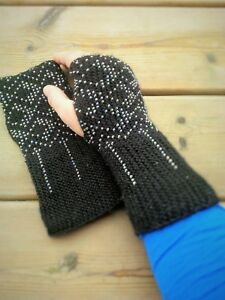 Beaded Black Wool Fingerless Gloves