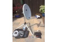 Satellite Dish, Tripod, Freeview Receiver plus compass & cables
