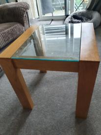 Oak glass coffee table