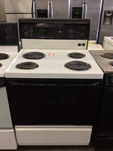 "GE Black & White 30"" Coil Top Stove"