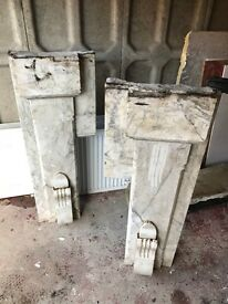 Antique solid marble fire place surround with mantelpiece