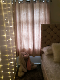 Crushed velvet champagne curtains