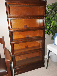 antique barrister bookcases five glass levels high,restored