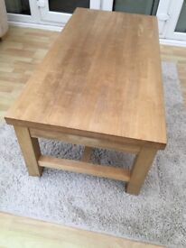 Matching solid oak coffee table and side table