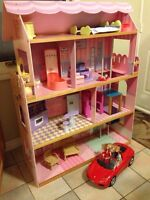 Barbie Dream House With Elevator, Barbie and Ken and Red Ferrari
