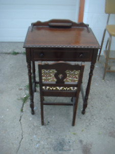 Vintage Telephone Table Desk With Chair