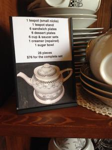 Vintage Antique 28-pc Black & White Tea Set