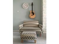Two seater contemporary sofa & foot stool - Grey