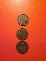 1903,1917,1919 canada 5 cents