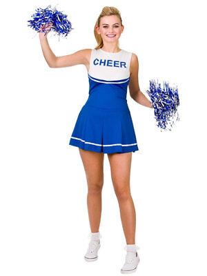 Cheerleader Fancy Dress Costume Womens Ladies High School Blue Uniform Pom - Womens Blue Cheerleader Kostüm