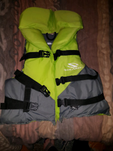 Life jacket and sleeping bag for junior.  Size small