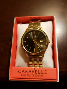 Mens Caravelle gold plated watch