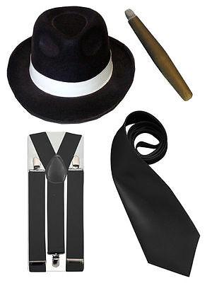 Italian Mafia Gangster Al Capone Great Gatsby Trilby Hat Black Braces Neck Tie (Great Gatsby Herren Kostüme)