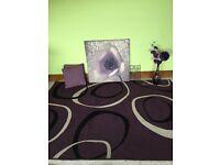 Large purple rug? Large canvas, cushions, vase