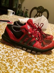 Red and Grey adidas running shoes