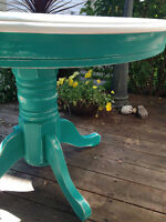Country Chic Antiqued Dining Table in Aqua Green and Cream
