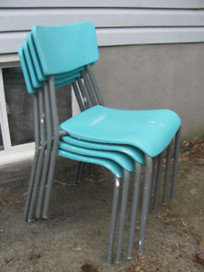 4 Used Stanline Teal Contoured Stackable Plastic Chairs