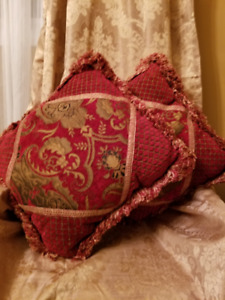 Decor Pillows Matching Red &  Gold fringed Home Sense