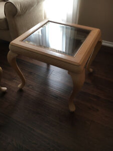 Coffee table and two side tables. ANTIQUE CHERRY WOOD