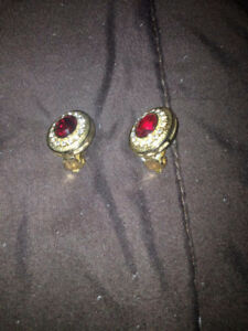 New earrings small red stone  golden plated