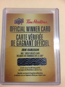 2018-19 TIM HORTONS OFFICAL WINNER CARD ERIK KARLSSON JERSEY