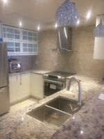 IKEA kitchens installation,granite,backsplash