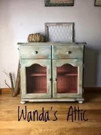 Pine Hand painted bohemian sideboard
