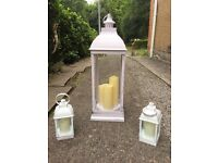 Storm lantern candle set - battery operated flicker candles
