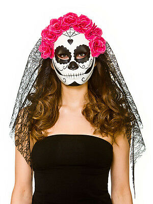 Womens Mexican Day Of The Dead Senorita Fancy Dress Mask & Veil Skull Candy (Skull Candy Kostüme)