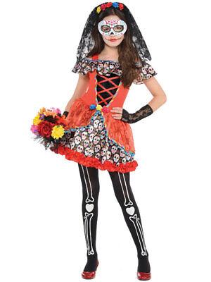 Child Girls Day of The Dead Sugar Skull Senorita Fancy Dress Halloween - Sugar Girl Kostüm