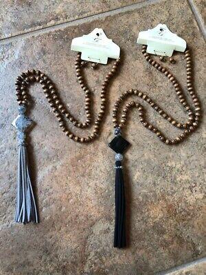- Long Tassel Necklace Set Beaded Gray Black Wood Crystal Beautiful! New!
