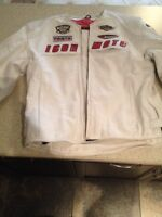 Icon Automag white leather jacket
