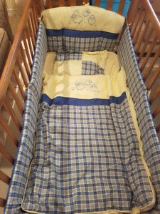 Oak crib with all the trimmings