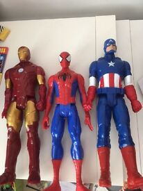 Iron man, captain America and Spider-Man figures