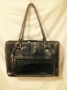 Large New Condition Black Leather Fossil Shoulder Bag/Tote Bag