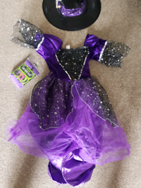 7-8yrs witches outfit,hat,tights,bag,bobble