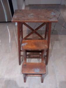 Vintage wood folding step stool.