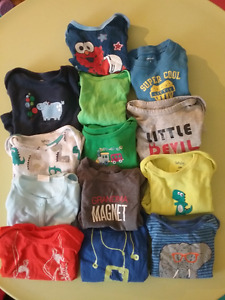 Boys short sleeve diaper tees (sz 6-12 months)