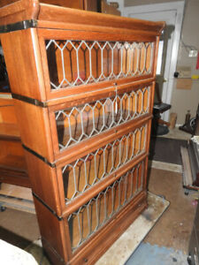 antique oak four level leaded barrister bookcase with drawer