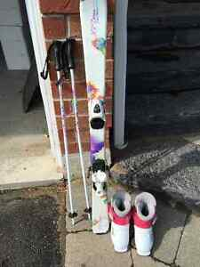 110cm skis, boots and poles girls
